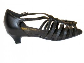 Linda - Black Leather - Double WIDE - Latin or Ballroom Dance Shoe