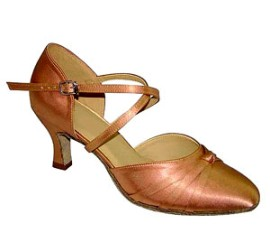 Lucinda Dark Tan Satin Ballroom Dance Shoe
