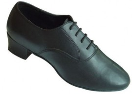 Max - WIDE - Cuban Heel - Black Leather Latin Dance Shoe