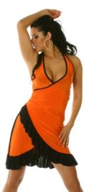 Orange/Black Ruffled Halter Dress