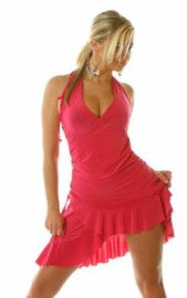 Pink Ruffled Halter Dress