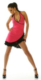 Pink/Black Ruffled Halter Dress