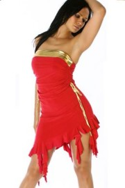 Red Strapless Dress with Gold Trim & Hanging Ruffles