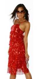 Red Sequin Layered Dress