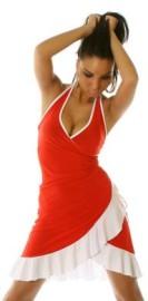 Red/White Ruffled Halter Dress