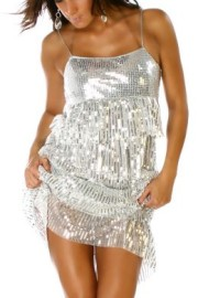 Silver Sequin Layered Dress