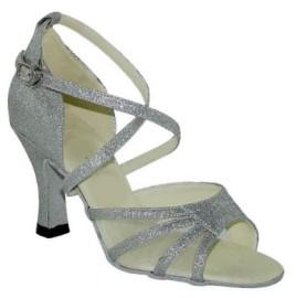 Sharon - Silver Glitter - Latin or Ballroom Dance Shoes