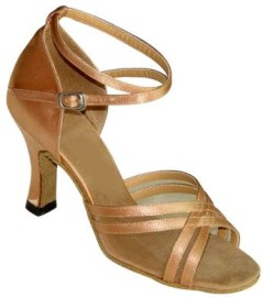 Annabelle - Tan Satin/Mesh - Latin or Ballroom Dance Shoe