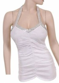 White Halter Top with Silver Sequins