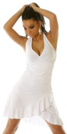 White Ruffled Halter Dress